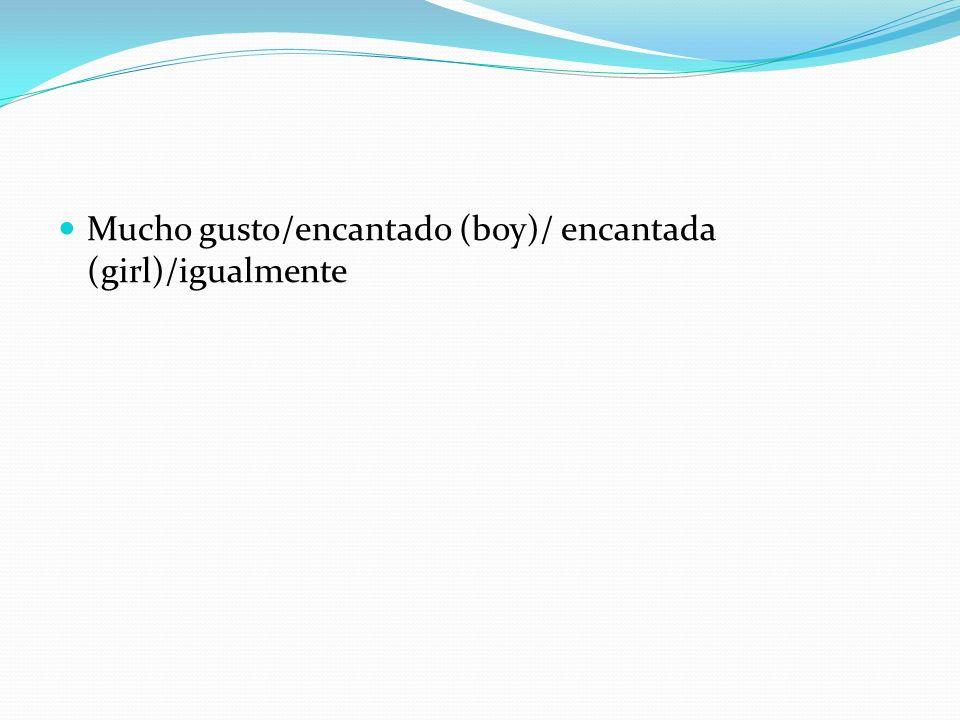 Mucho gusto/encantado (boy)/ encantada (girl)/igualmente