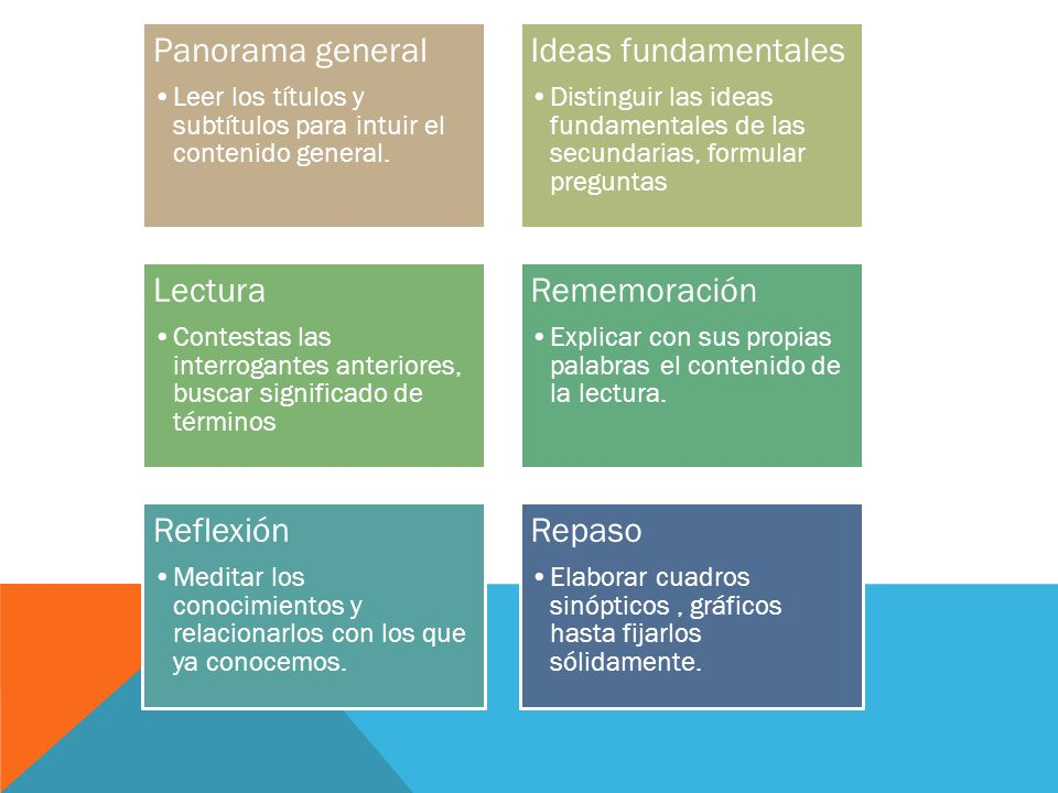 Panorama general Ideas fundamentales Lectura Rememoración Reflexión