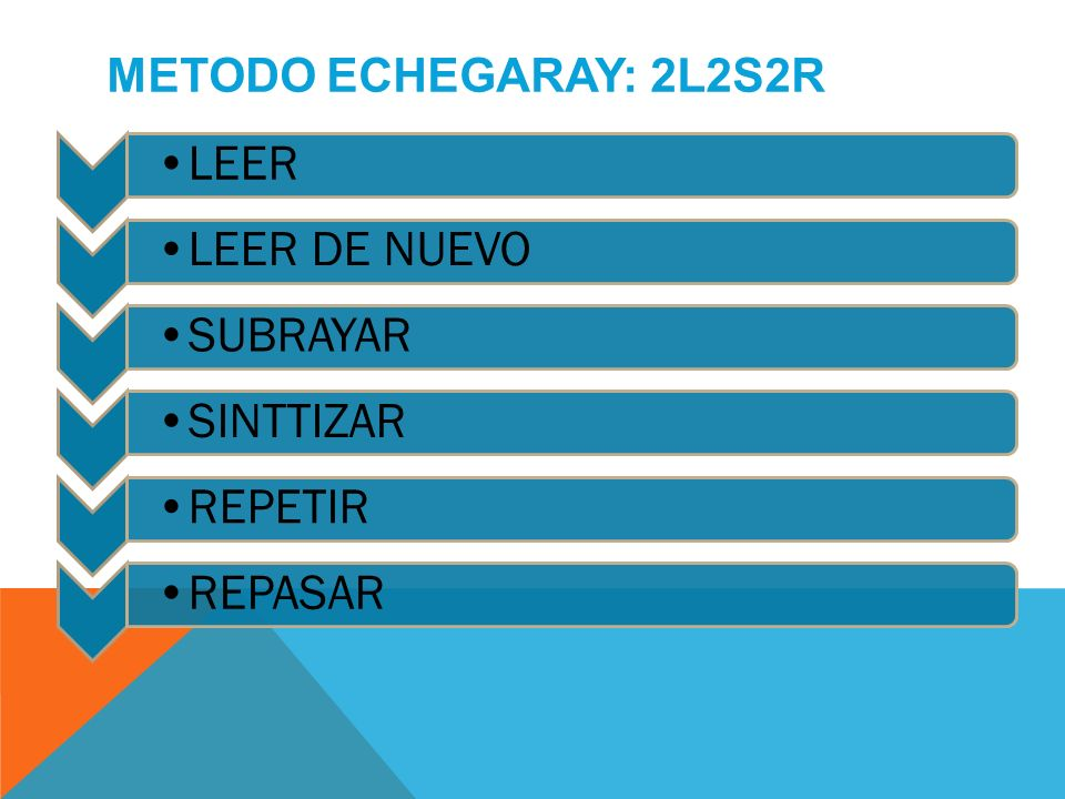 METODO ECHEGARAY: 2L2S2R LEER LEER DE NUEVO SUBRAYAR SINTTIZAR REPETIR