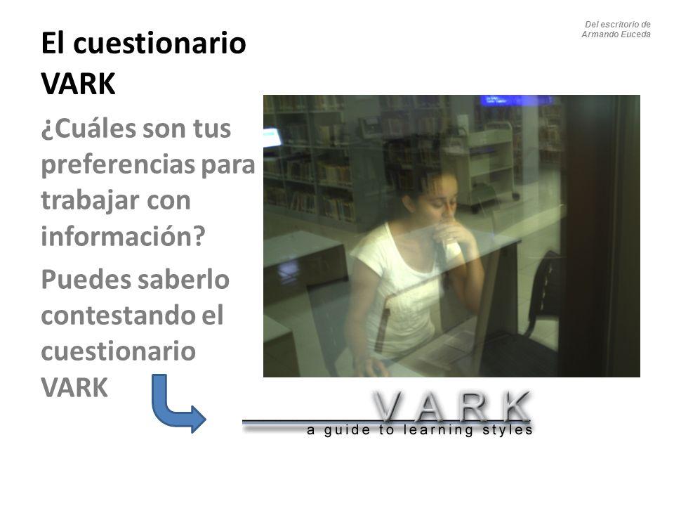 Del escritorio de Armando Euceda. El cuestionario VARK. ¿Cuáles son tus preferencias para trabajar con información