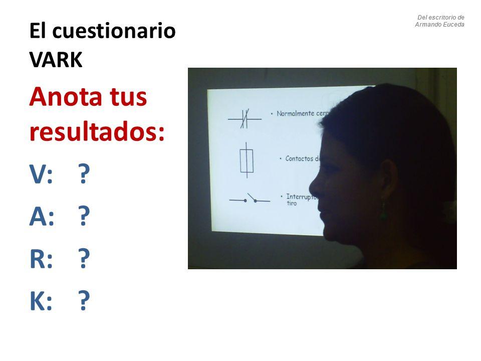 Anota tus resultados: V: A: R: K: El cuestionario VARK