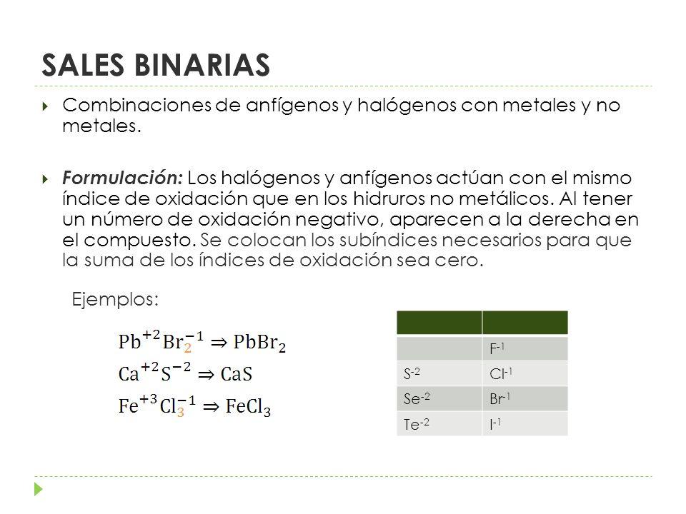SALES BINARIAS Combinaciones de anfígenos y halógenos con metales y no metales.