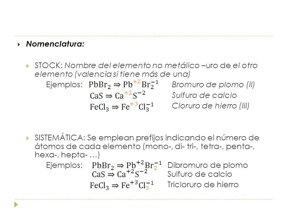Nomenclatura: STOCK: Nombre del elemento no metálico –uro de el otro elemento (valencia si tiene más de una)