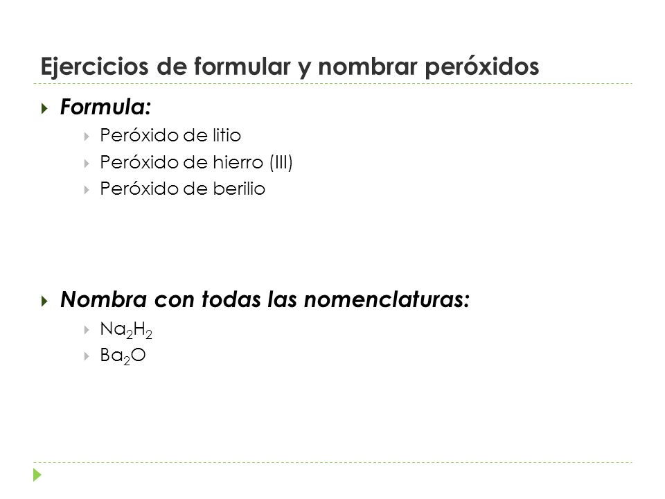 Ejercicios de formular y nombrar peróxidos