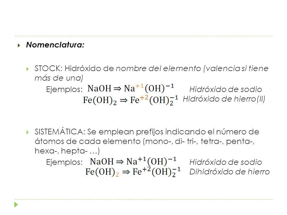 Nomenclatura: STOCK: Hidróxido de nombre del elemento (valencia si tiene más de una)