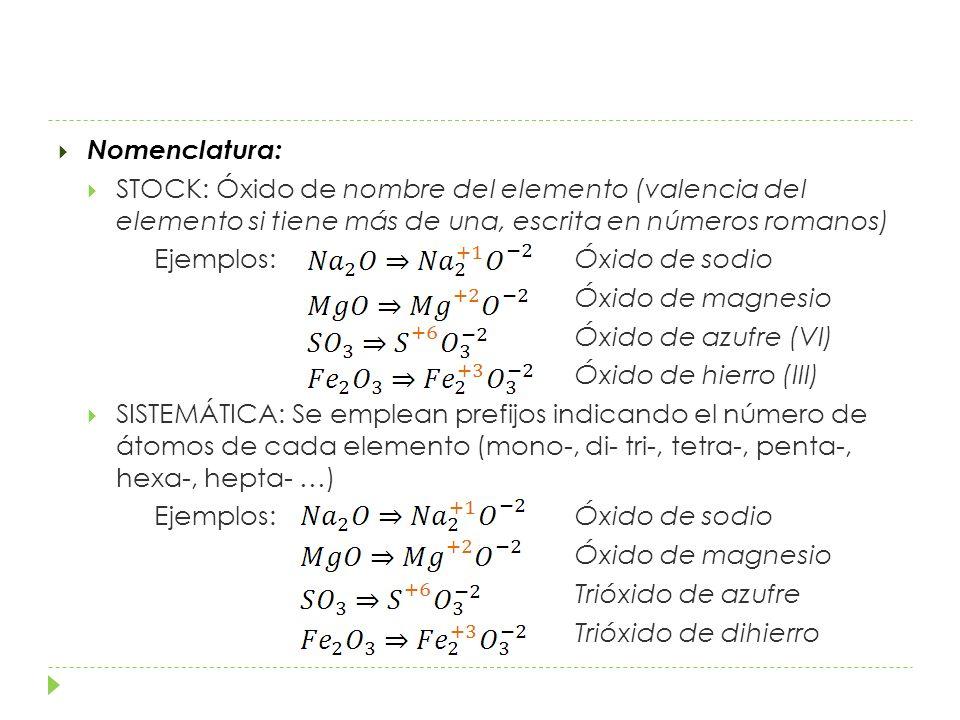 Nomenclatura: STOCK: Óxido de nombre del elemento (valencia del elemento si tiene más de una, escrita en números romanos)