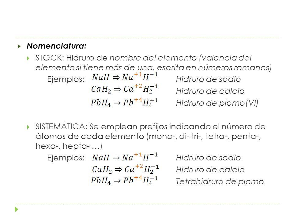 Nomenclatura: STOCK: Hidruro de nombre del elemento (valencia del elemento si tiene más de una, escrita en números romanos)