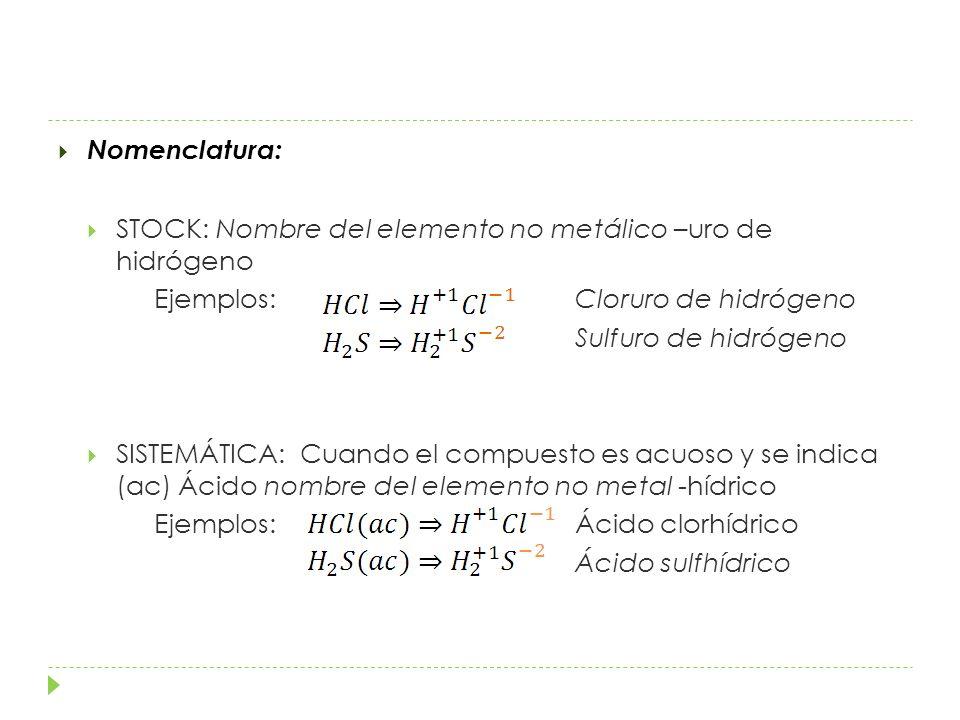 Nomenclatura: STOCK: Nombre del elemento no metálico –uro de hidrógeno. Ejemplos: Cloruro de hidrógeno.
