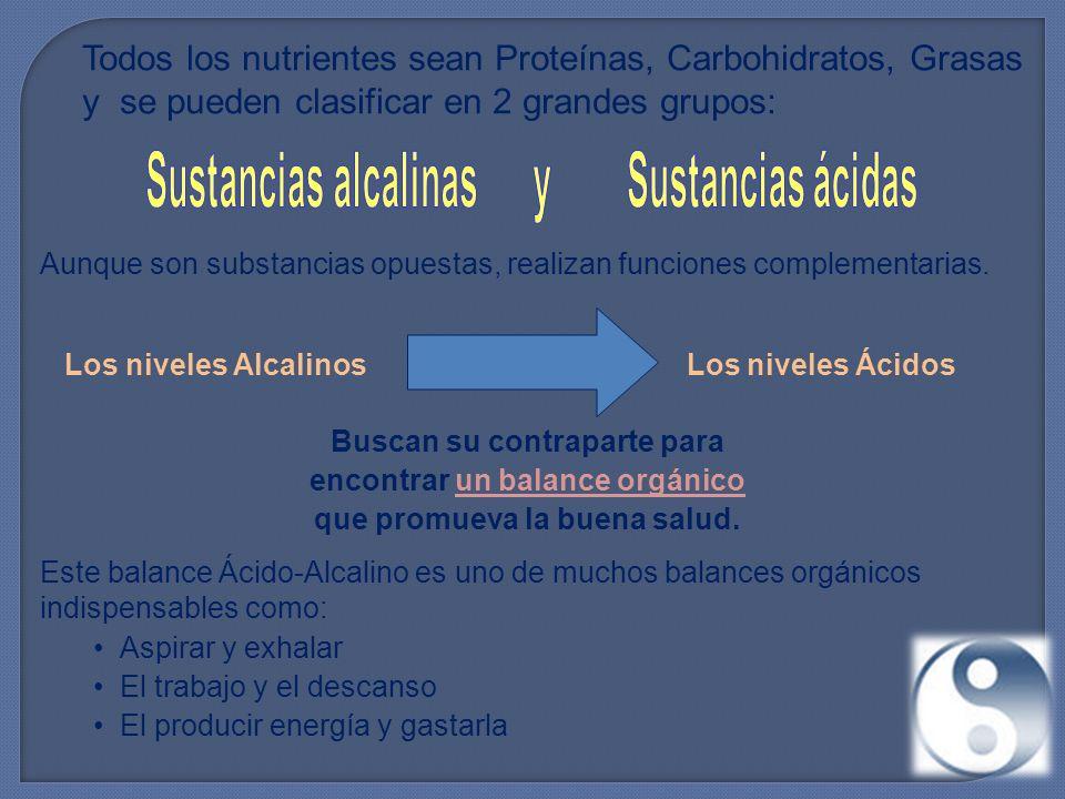 Todos los nutrientes sean Proteínas, Carbohidratos, Grasas y se pueden clasificar en 2 grandes grupos: