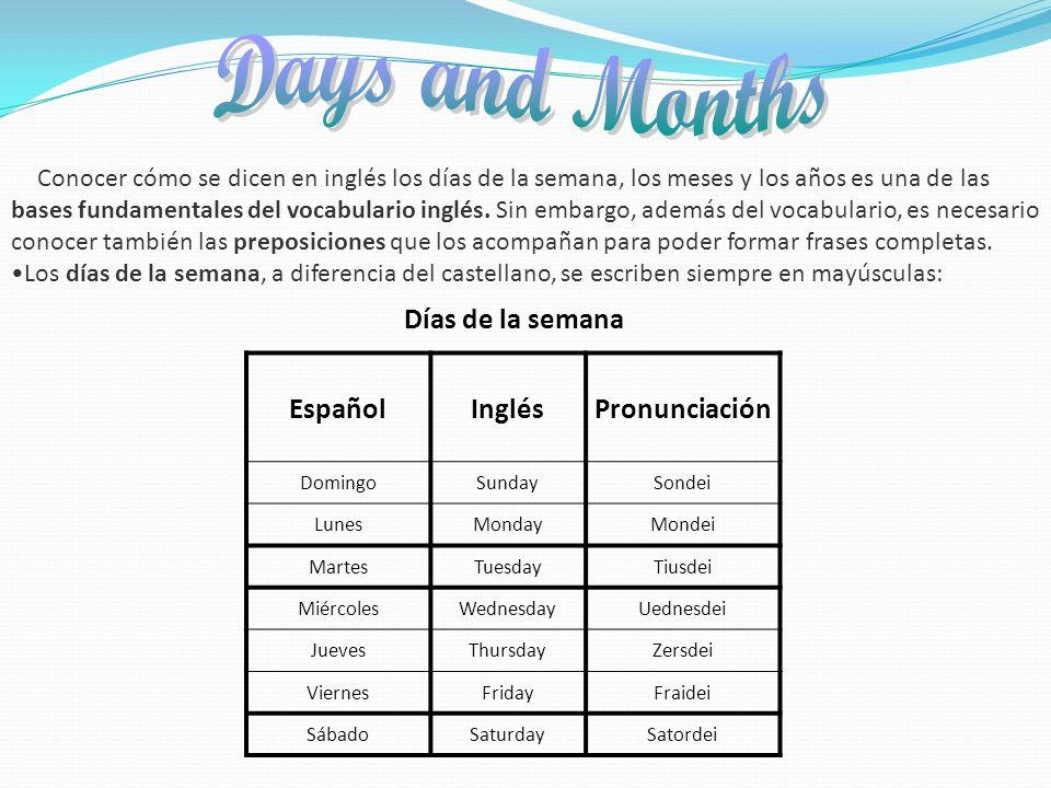 Days and Months Días de la semana Español Inglés Pronunciación