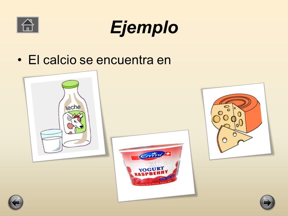Ejemplo El calcio se encuentra en