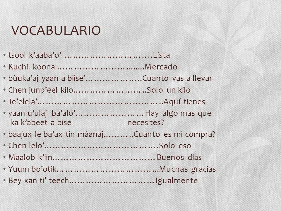 VOCABULARIO tsool k'aaba'o' ………………………….Lista