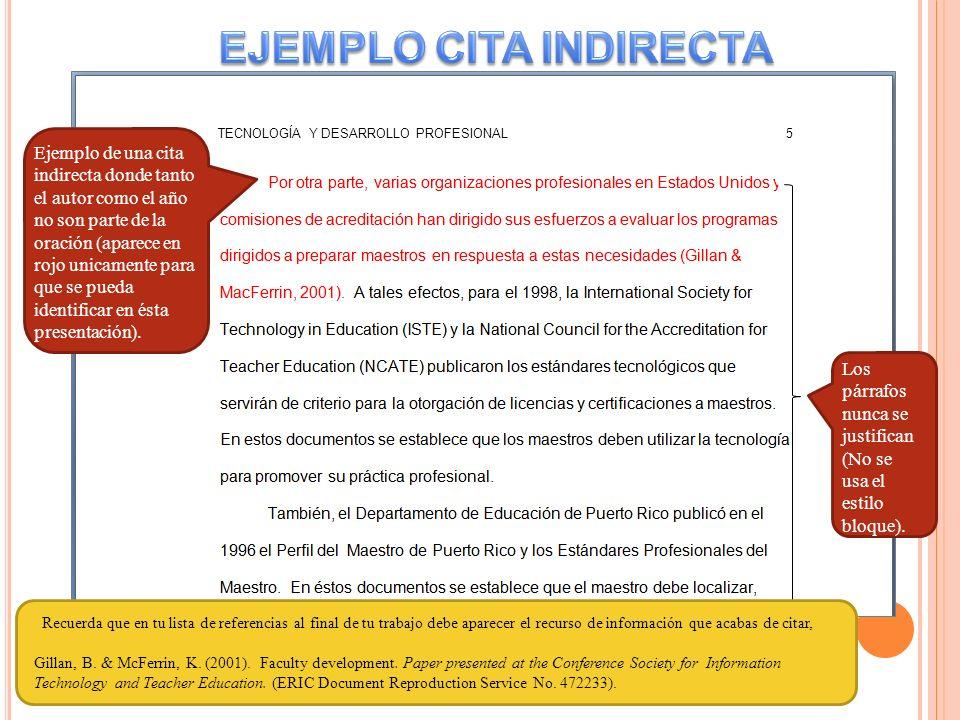 EJEMPLO CITA INDIRECTA