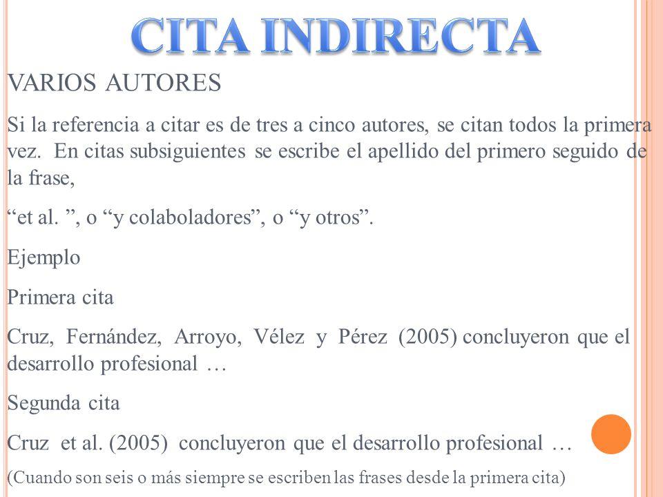 CITA INDIRECTA VARIOS AUTORES