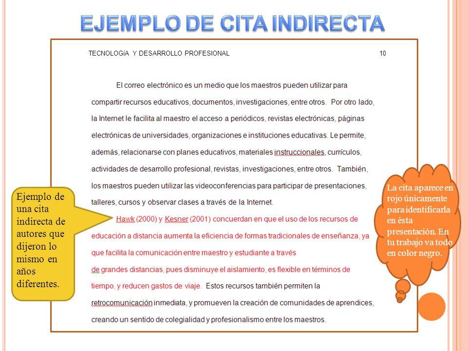 EJEMPLO DE CITA INDIRECTA