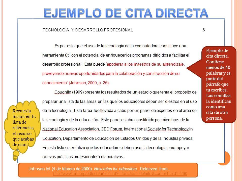 EJEMPLO DE CITA DIRECTA