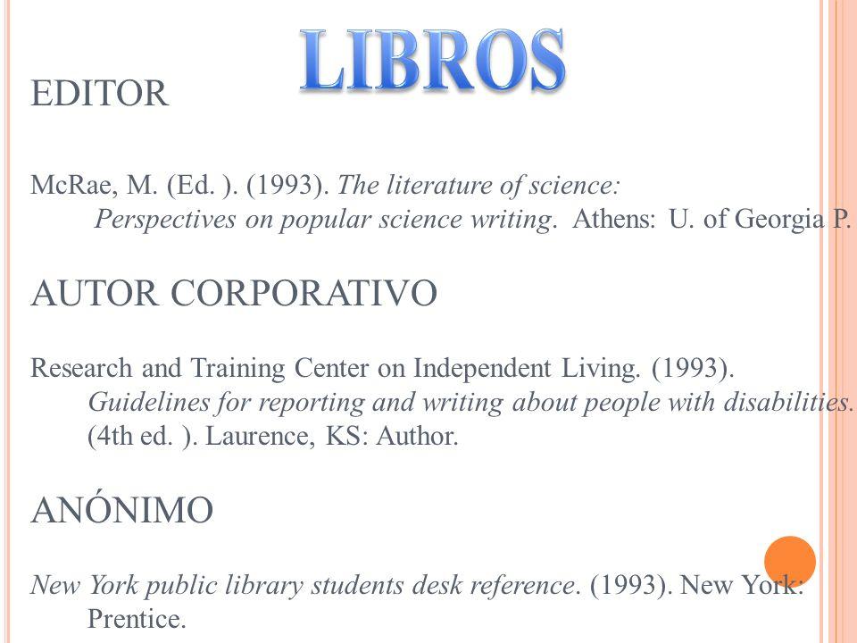 LIBROS EDITOR AUTOR CORPORATIVO ANÓNIMO