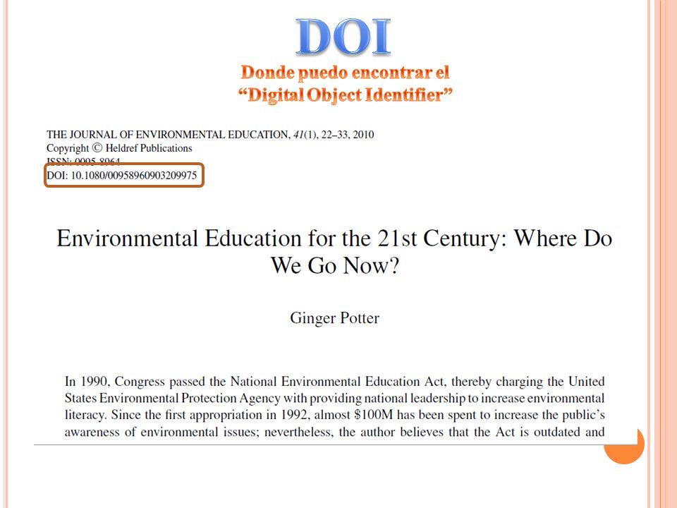 Donde puedo encontrar el Digital Object Identifier