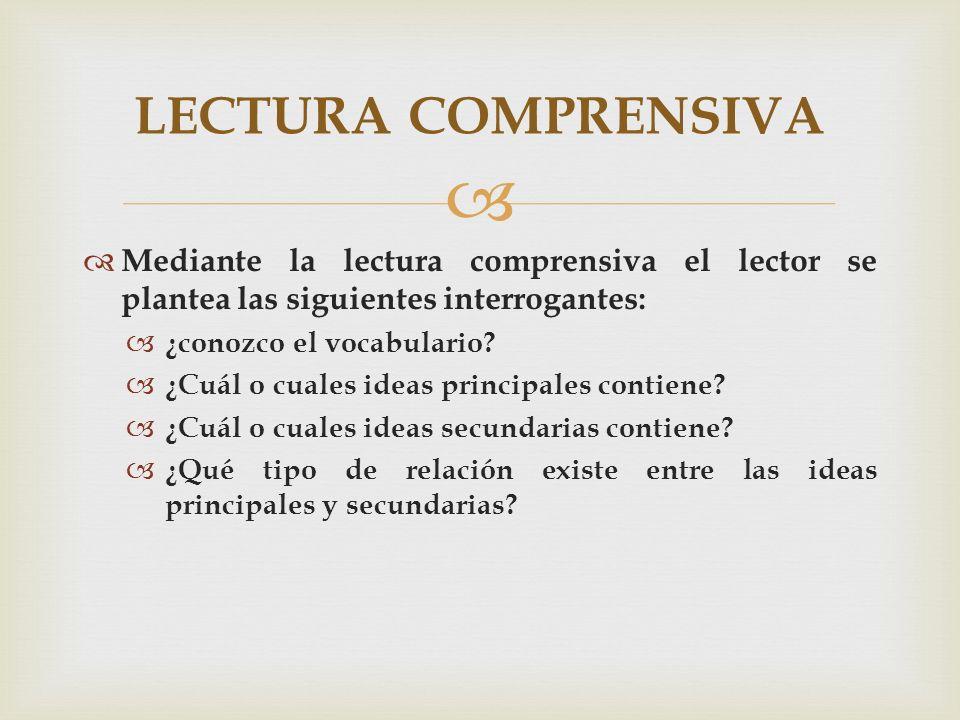 LECTURA COMPRENSIVA Mediante la lectura comprensiva el lector se plantea las siguientes interrogantes: