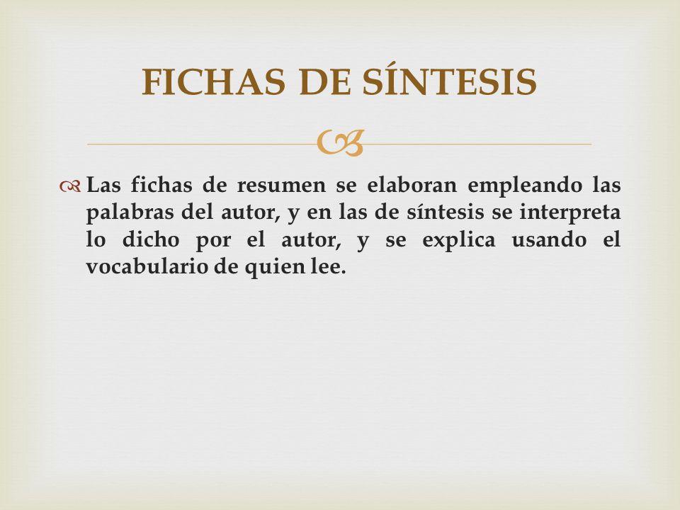 FICHAS DE SÍNTESIS