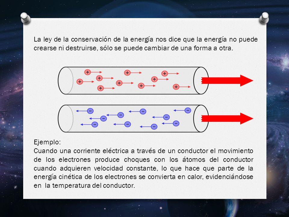 La ley de la conservación de la energía nos dice que la energía no puede crearse ni destruirse, sólo se puede cambiar de una forma a otra.