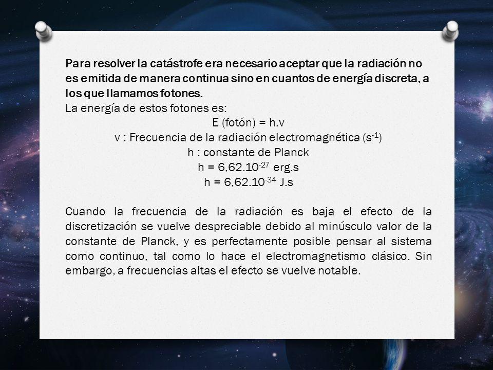 ν : Frecuencia de la radiación electromagnética (s-1)