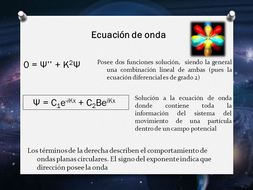 Ecuación de onda 0 = Ψ'' + K2Ψ Ψ = C1e-iKx + C2BeiKx