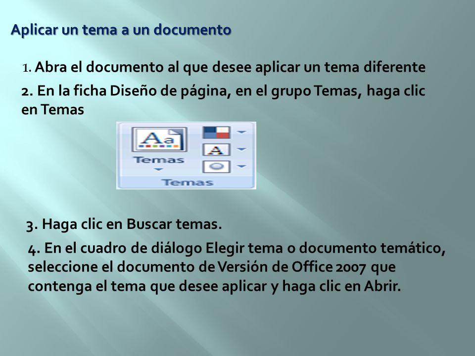 Aplicar un tema a un documento