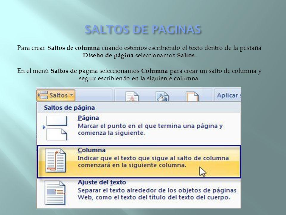 SALTOS DE PAGINAS
