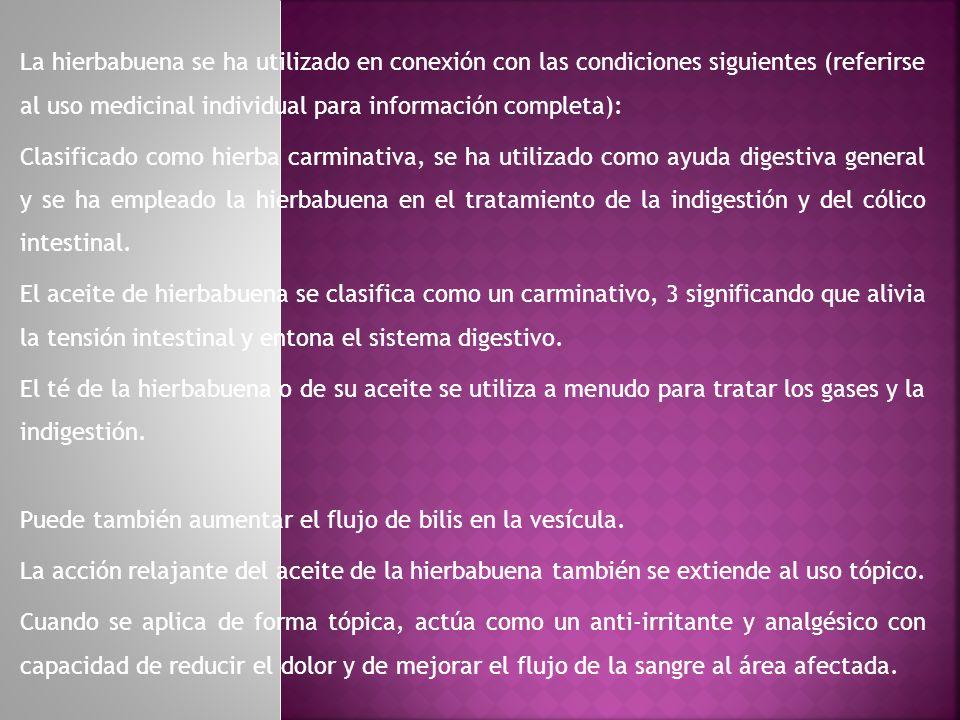 La hierbabuena se ha utilizado en conexión con las condiciones siguientes (referirse al uso medicinal individual para información completa):