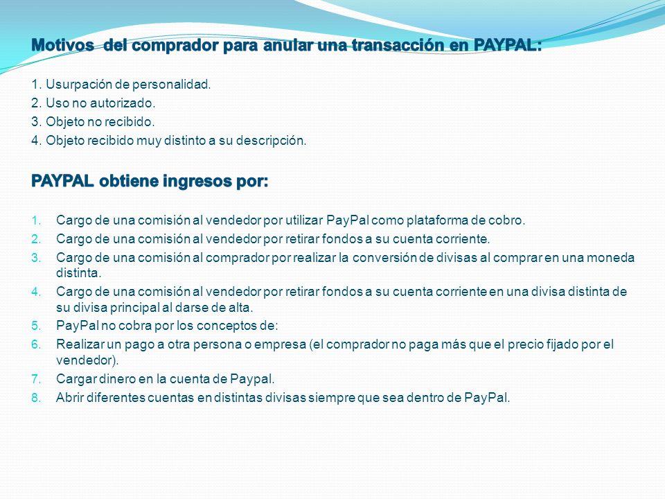 Motivos del comprador para anular una transacción en PAYPAL: