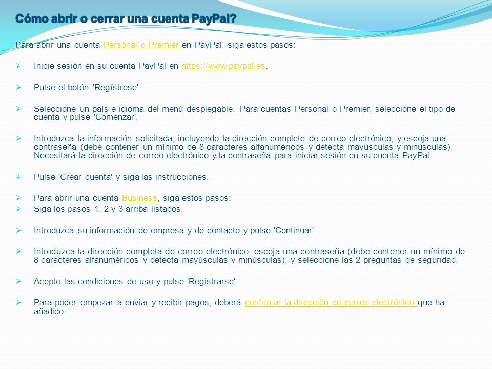 Cómo abrir o cerrar una cuenta PayPal