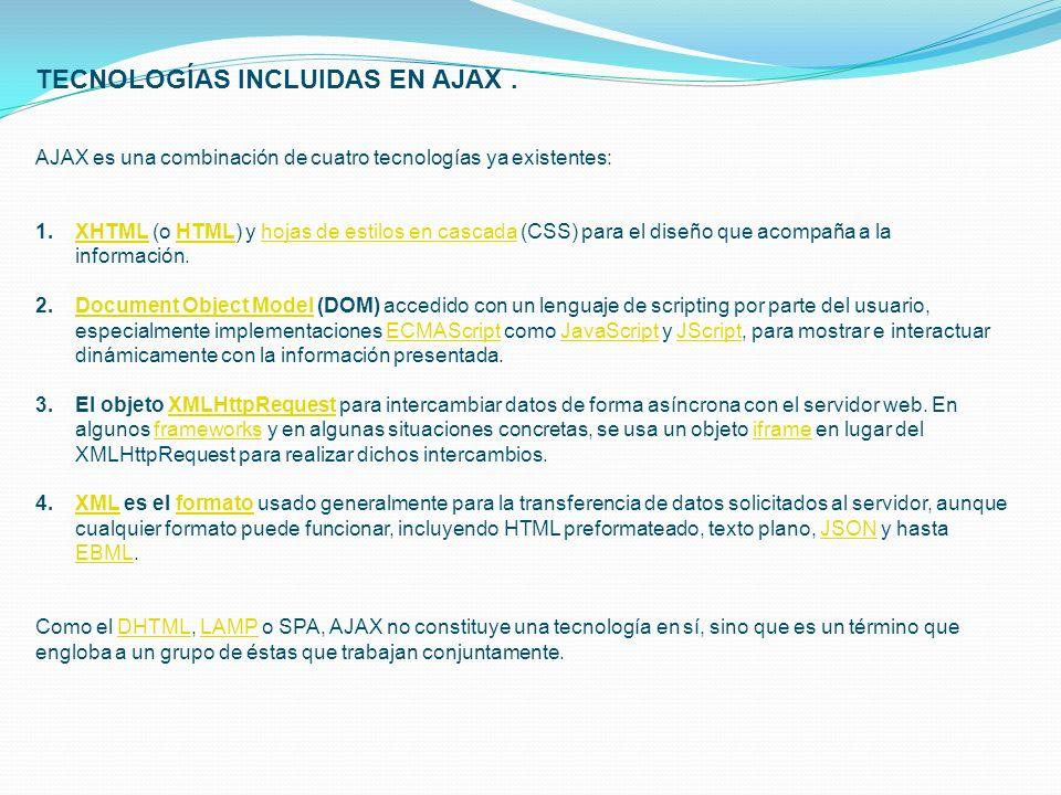 TECNOLOGÍAS INCLUIDAS EN AJAX .