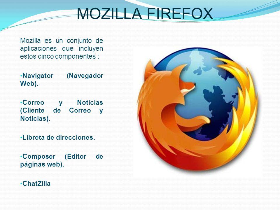 MOZILLA FIREFOX Mozilla es un conjunto de aplicaciones que incluyen estos cinco componentes : Navigator (Navegador Web).