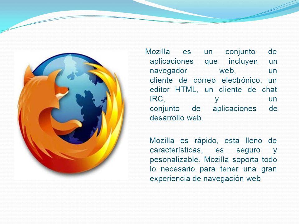 Mozilla es un conjunto de aplicaciones que incluyen un navegador web, un cliente de correo electrónico, un editor HTML, un cliente de chat IRC, y un conjunto de aplicaciones de desarrollo web.