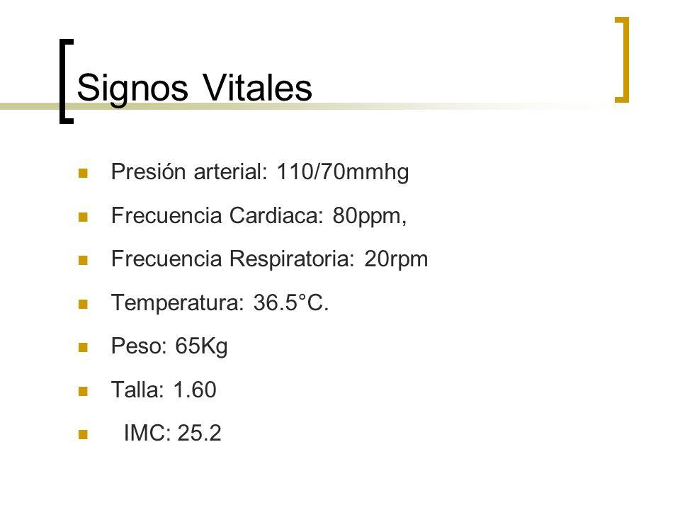 Signos Vitales Presión arterial: 110/70mmhg
