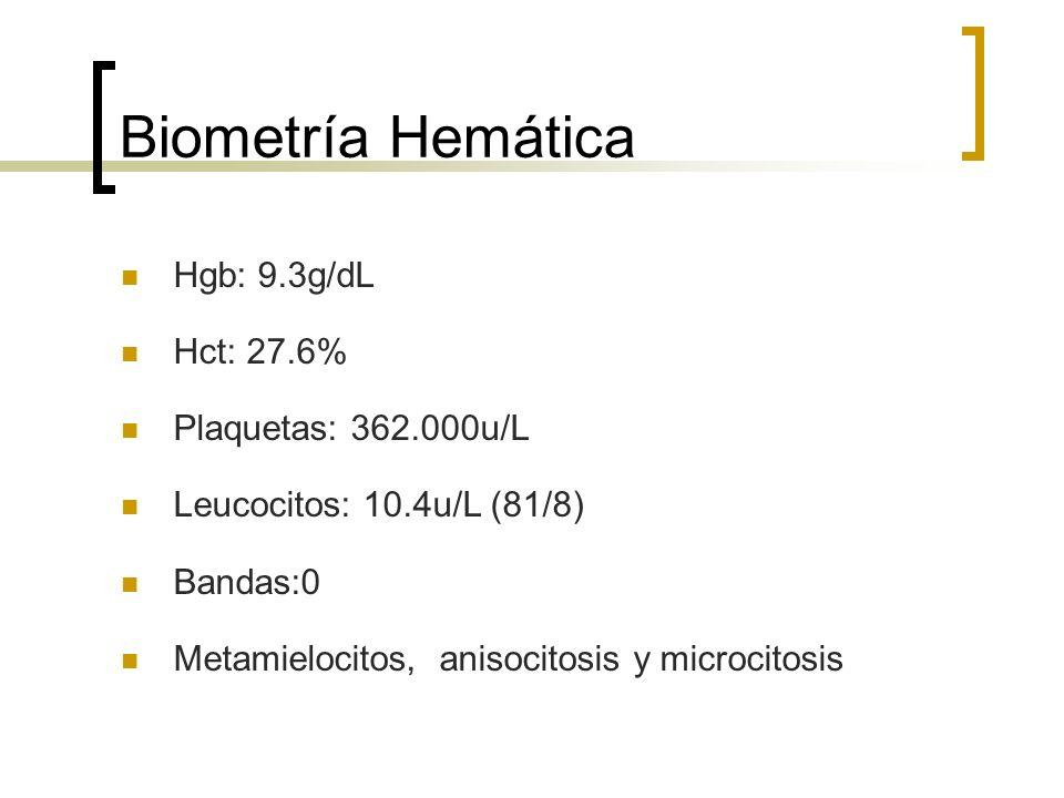 Biometría Hemática Hgb: 9.3g/dL Hct: 27.6% Plaquetas: 362.000u/L