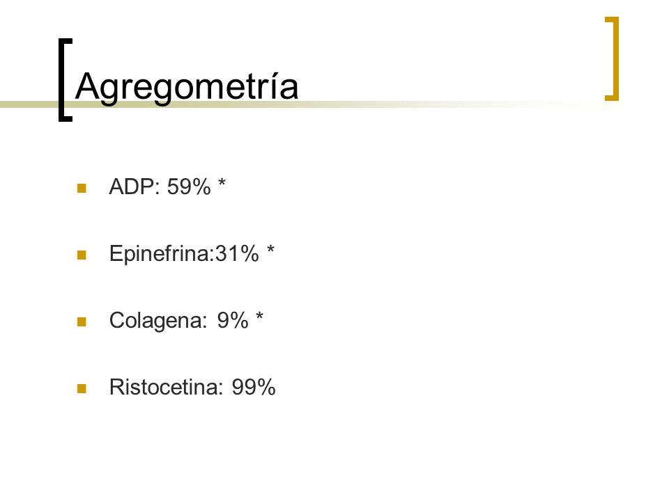 Agregometría ADP: 59% * Epinefrina:31% * Colagena: 9% *