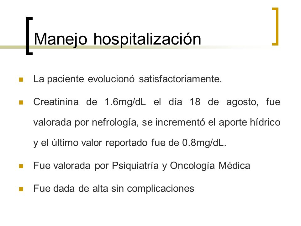 Manejo hospitalización