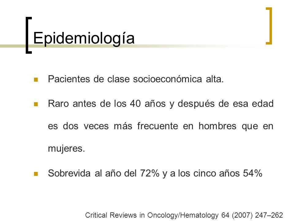 Epidemiología Pacientes de clase socioeconómica alta.