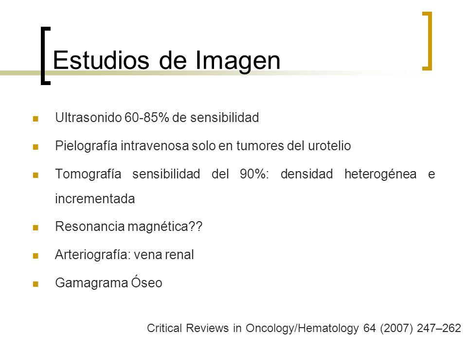 Estudios de Imagen Ultrasonido 60-85% de sensibilidad
