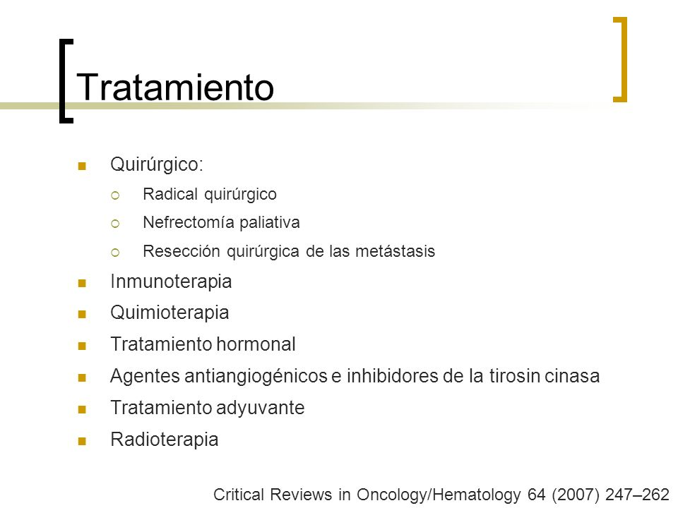 Tratamiento Quirúrgico: Inmunoterapia Quimioterapia