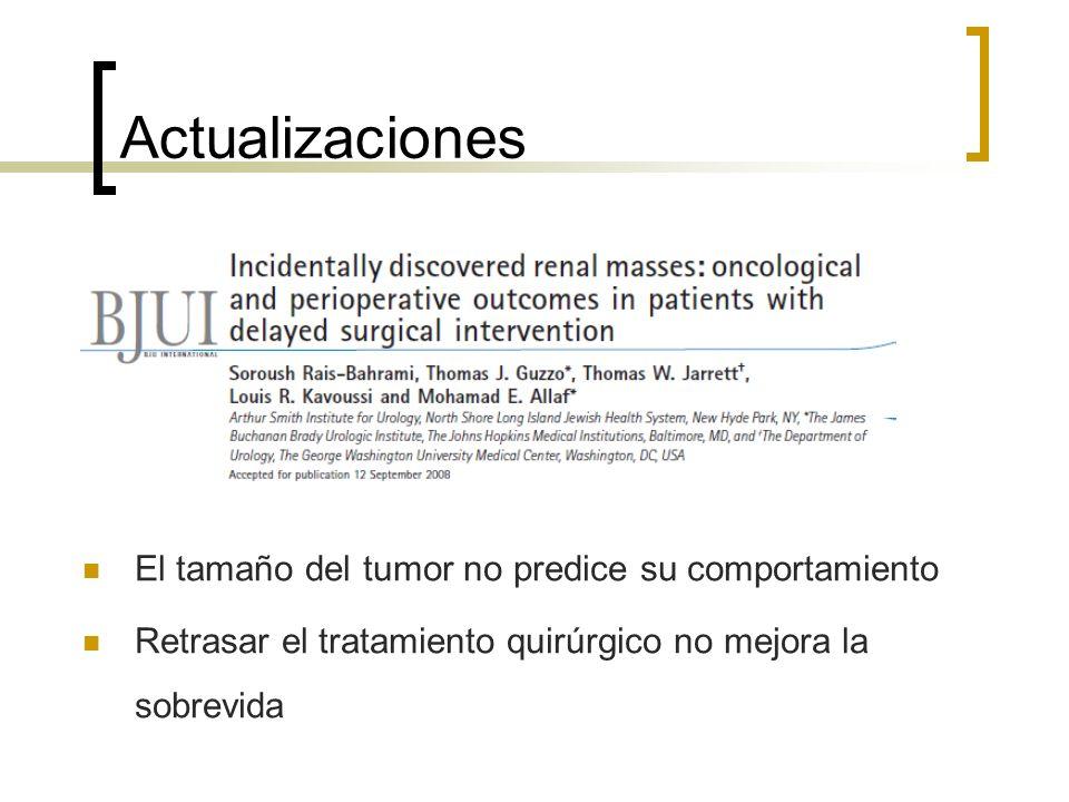 Actualizaciones El tamaño del tumor no predice su comportamiento