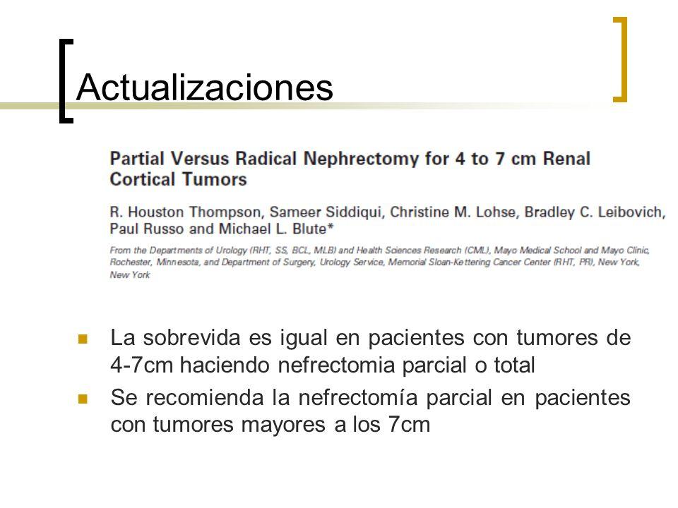 Actualizaciones La sobrevida es igual en pacientes con tumores de 4-7cm haciendo nefrectomia parcial o total.