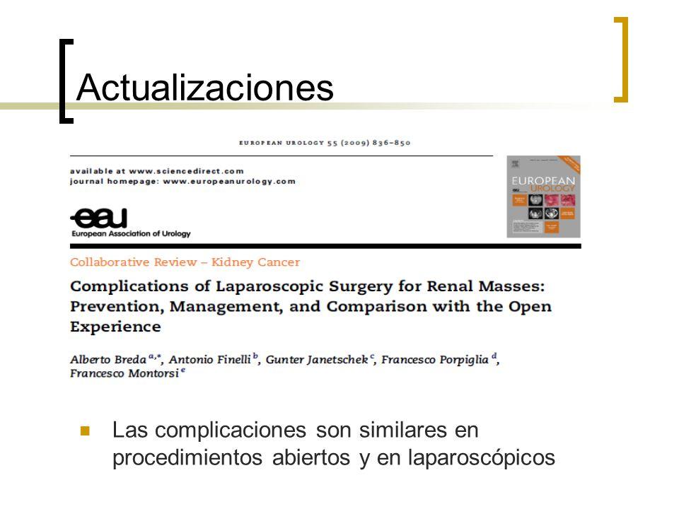 Actualizaciones Las complicaciones son similares en procedimientos abiertos y en laparoscópicos