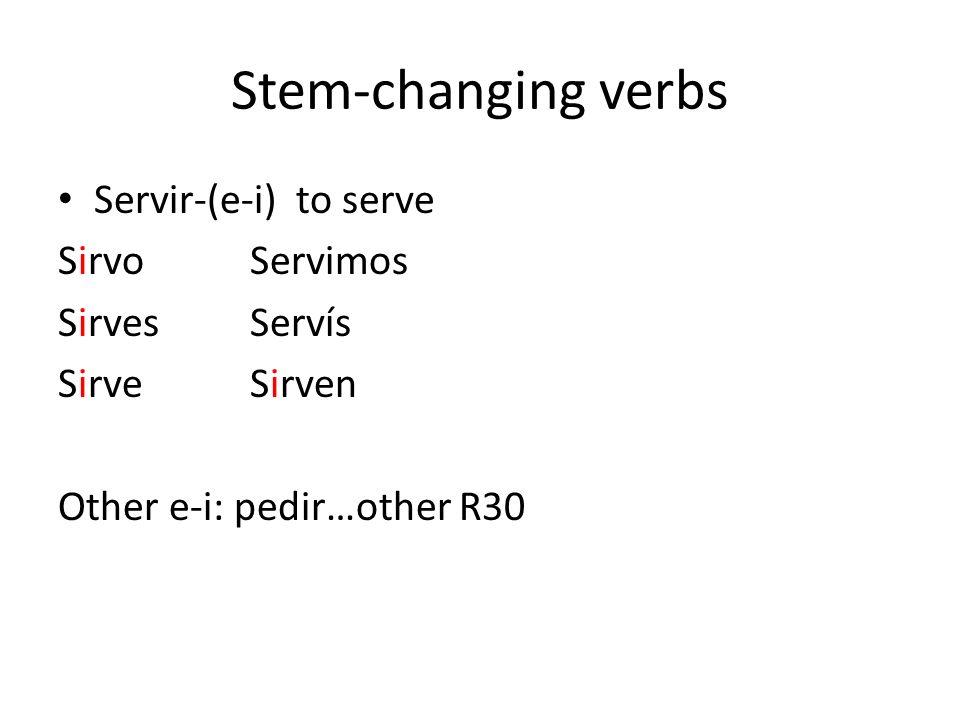 Stem-changing verbs Servir-(e-i) to serve Sirvo Servimos Sirves Servís