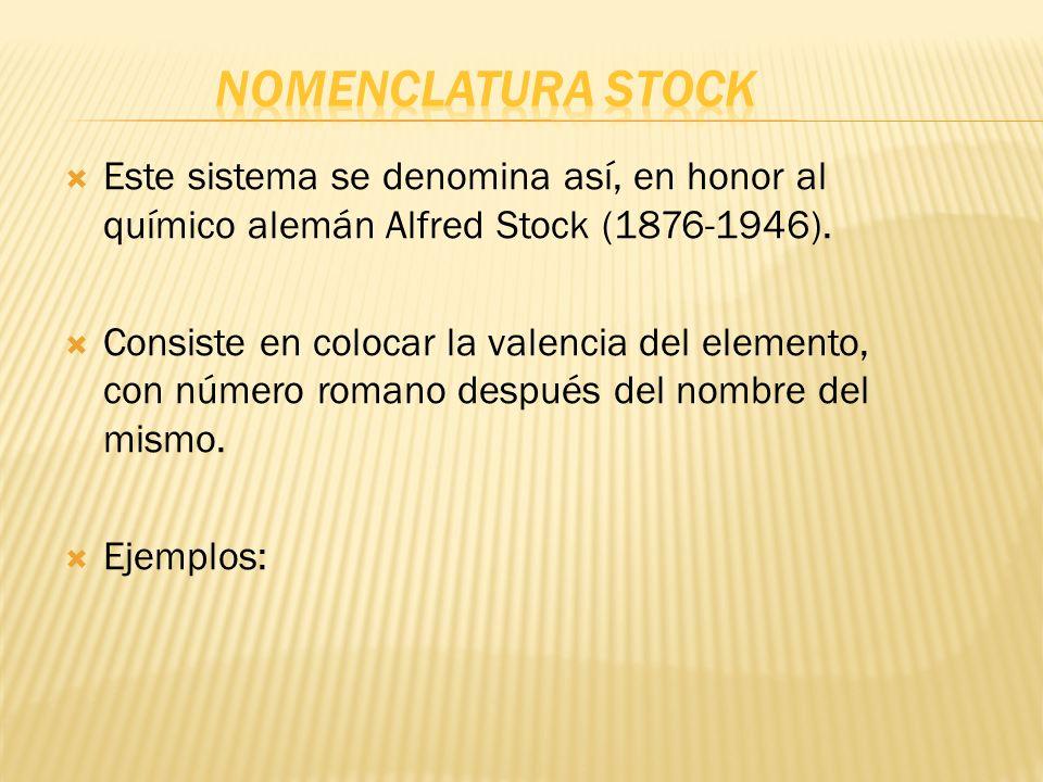 Nomenclatura Stock Este sistema se denomina así, en honor al químico alemán Alfred Stock (1876-1946).