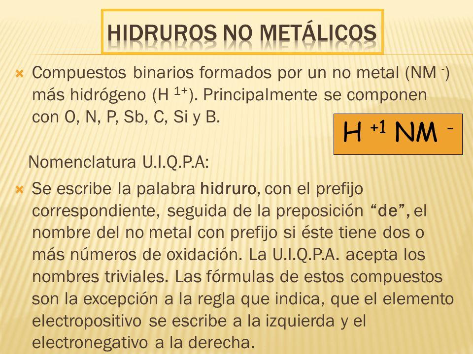H +1 NM - Hidruros NO metálicos