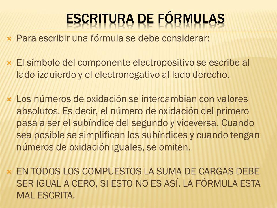 Escritura de fórmulas Para escribir una fórmula se debe considerar: