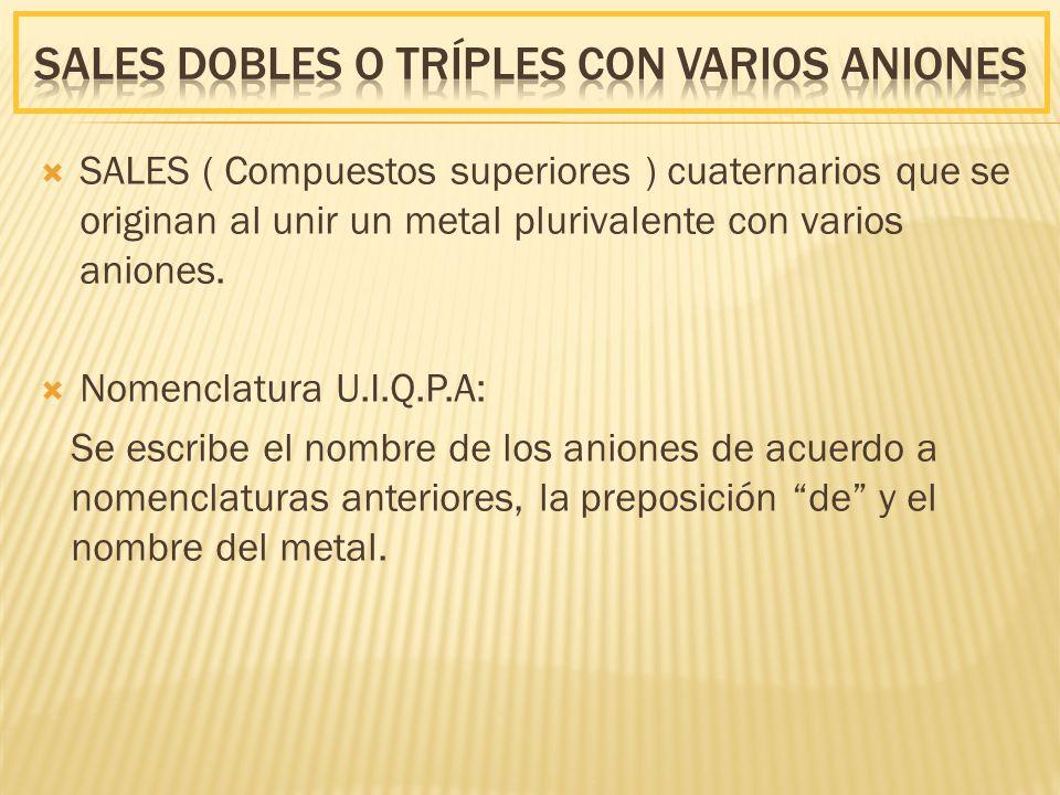 Sales DOBLES o TRÍPLES CON VARIOS AnIONES